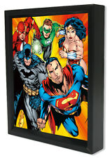 DC-JUSTICE LEAGUE-HEROES 8x10 3D SHADOWBOX DC COMICS BATMAN FLASH WONDER WOMAN!!