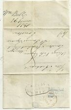 * 1851 BLUE GIBRALTAR DATED SHIP LETTER & FRAMED LIVERPOOL SHIP TO LONDON BANK