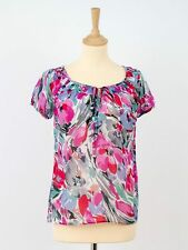 Monsoon Womens Silk and Cotton Short Sleeve Top with Tie Size 8