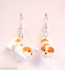 "NEW English Bulldog Dogs Puppies 1"" Mini Figures Figurines Dangle Earrings"