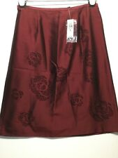 NWT ANN TAYLOR BEAUTIFUL RED/WINE/MAUVE STRAIGHT FIT SKIRT SEQUINS SIZE 6P SILK