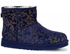 New UGG Classic Mini Metallic Conifer Navy Blue Gold Sz 9 1008562 Ankle Boots