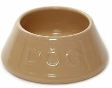 Ceramic Dog Bowl Beige Lettered 21cm Non Tip  Mason Cash