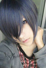 Hot~Black Butler Ciel Kuroshitsuji Phantomhive Short Cosplay Wig mixed color .00