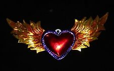 Heart Flaming wings Mexican Folk Art Tin Ornaments Milagros Hand Made Love Token