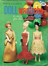 1964 Barbie Ken SEW Knit CROCHET Patterns Coats & Clarke No 151 Doll Wardrobe