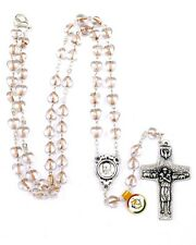 NEW MADE IN ITALY POPE FRANCIS PINK GLASS HEART ROSARY NECKLACE VEDELE CROSS