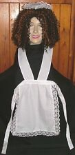"MAID APRON & HEADPIECE FOR ROCKY HORROR COSTUME MAGENTA 67"" long waistband"