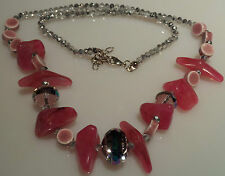 Pink  Chip Faceted Bead Necklace