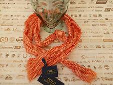 """POLO RALPH LAUREN SCIARPA Gingham 16x74"""" Crinkle Arancione Cotone Sciarpe BNWT RRP £ 60"""