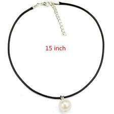 Women Fashion Black Leather Single Pearl Pendant Choker Collar Necklace Jewelry