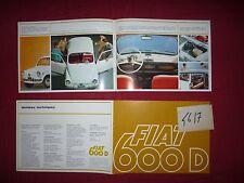 N°4617 / FIAT :  catalogue   600 D    texte français  1966