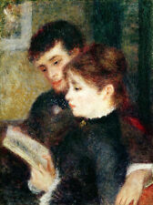 Stunning Oil painting portraits young man and young woman reading Hand painted