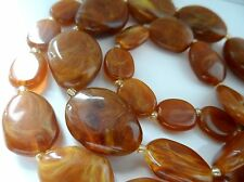Vintage Brown Marble Effect Plastic Graduating Single Strand Necklace - 22inch