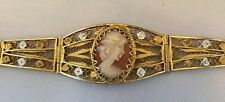 Beautiful Vintage 2 Tone Silver And Gold Plate Shell Cameo Filigree Bracelet
