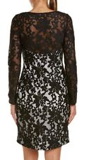 SUE WONG  Black and Grey Embroidered Cocktail Evening Sheath Dress 6