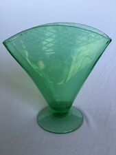Vintage green depression glass fan vase with etched criss cross top and flower