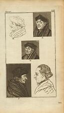rev john caspar lavater 1797 physiognamy plate. profiles - erasmus after holbein