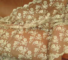 "Vintage 47"" Wide Gold Corded Bridal Lace Fabric Embroidery Lace Fabric 1/2 Yard"