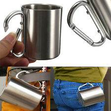 220ml Stainless Steel Coffee Mug Camping Portable Cup Carabiner Hook Double Wall