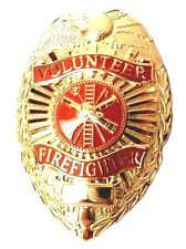 Volunteer Firefighter Badge Fireman Fire Gold Plated Eagle Oval Scramble New