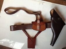 WWII British Sam Browne Officer's Belt, Ring, Koppel Holster & Ammo Pouch