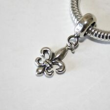 FLEUR DE LYS/Lis-French Lily flower-Solid 925 sterling silver charm bead/Pendant