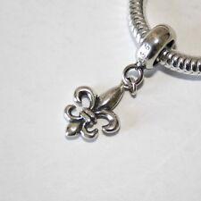 Fleur de Lys/Lis-Francés Lily Flor sólido de plata esterlina 925 encanto grano/Colgante
