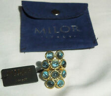 Milor NEW/Tag 14K Yellow Gold & 10 Swiss Blue Topaz Stones Ring sz 6 $800 Italy!