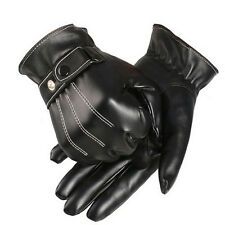Men's PU Leather Winter Super Driving Warm Gloves Cashmere tactical gloves