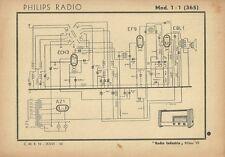 Schema Modello Radio Circuiti Philips Radio Mod. 1 + 1 (365) Milano 1943