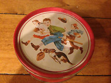 "VINTAGE BASEBALL FOOTBALL CANDY TIN CANISTER 6"" DIAMETER"