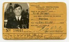 WWII Air Raid Warden ID Card from Office of Civil Protection Nassau Co. New York