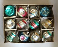 12 Premier Teal Blue Green Vtg Glass War Era SHAPE Xmas Ornaments Bells Lanterns
