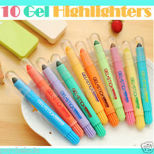 Highlighter Pen Set 10 Colors Korean Stationery Water Soluble Gel Stick Crayon