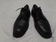 Men's genuine Italian Black Leather shoes with straps