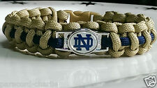 Notre Dame; The Fighting Irish; Gold with Navy Line Handmade Paracord Bracelet