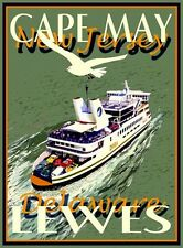 Cape May/Lewes Ferry -Vintage Art Deco Style Travel Poster-by Aurelio Grisanty