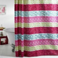 Moroccan Striped Floral Pink Green Blue Duck Egg Shower Curtain Vintage Roses