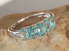 Natural Paraiba Apatite 5-Stone Ring Size 6 in 925 Sterling Silver.