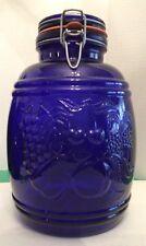 """Vintage X Large Cobalt Blue Glass """"Baril De Fruits"""" 1 Gallon Jar Lidded Embossed"""
