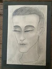 DESSIN ART-DECO PORTRAIT H. PERDRIAT FRENCH ARTIST INTERNATIONAL DRAWING