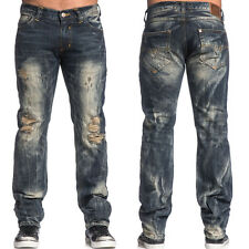 Affliction $145 Ace Collins Heavy Distressed Jeans in Travertine Dark Sz 32 x 34