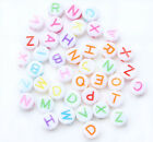300 Random Mixed Colors Flat Round Alphabet/Letter Acrylic Spacer Beads 7mm A002