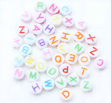 230 Random Mixed Colors Flat Round Alphabet/Letter Acrylic Spacer Beads 7mm A002
