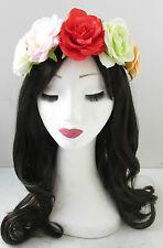 Red Pink Rose Flower Headband Sugar Skull Hair Crown Halloween Garland Boho T60