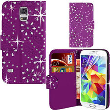 Bling Diamonte Studs Leather Wallet Jewel Flip Case Cover For All Phones
