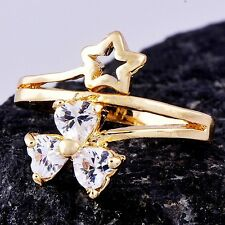 Trendy Womens 14K gold filled 3 Heart Crystal Star Womens Band Ring Size 8