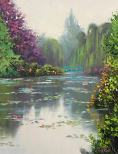 Water Lily painting Green LANDSCAPE Impressionist Pond  artwork By G. Gercken