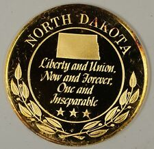 """Gold Plated Sterling Silver Proof Medal North Dakota """"Liberty & Union"""" in Case"""